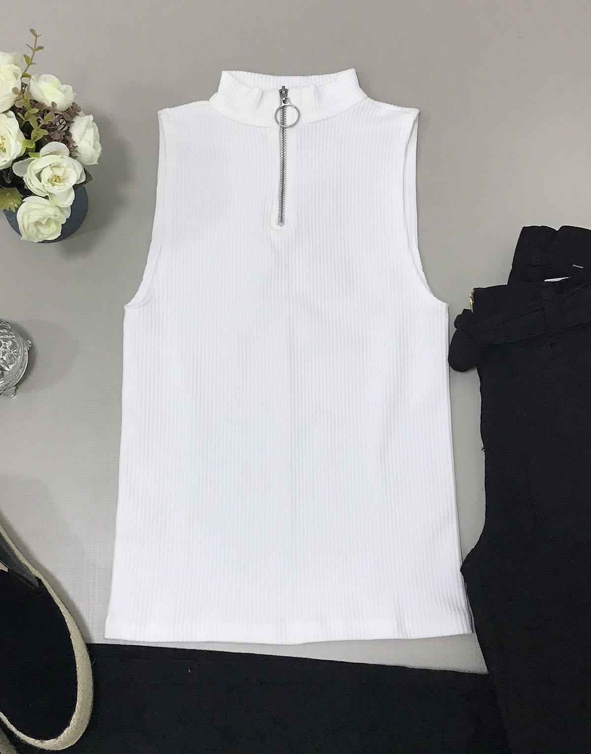 dbc7c2680d Blusa Canelada Zíper Off White – Lavinny Store