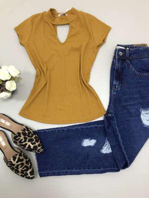 lavinnystore.com.br blusa canelada decote v amarelo ouro 1