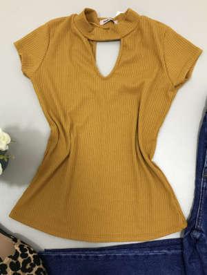 lavinnystore.com.br blusa canelada decote v amarelo ouro