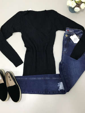 lavinnystore.com.br blusa tricot decote v preta 8