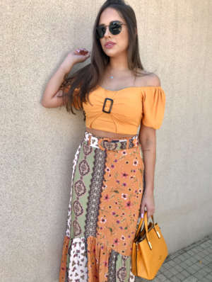 lavinnystore.com.br vestido midi babados fivela laranja 39